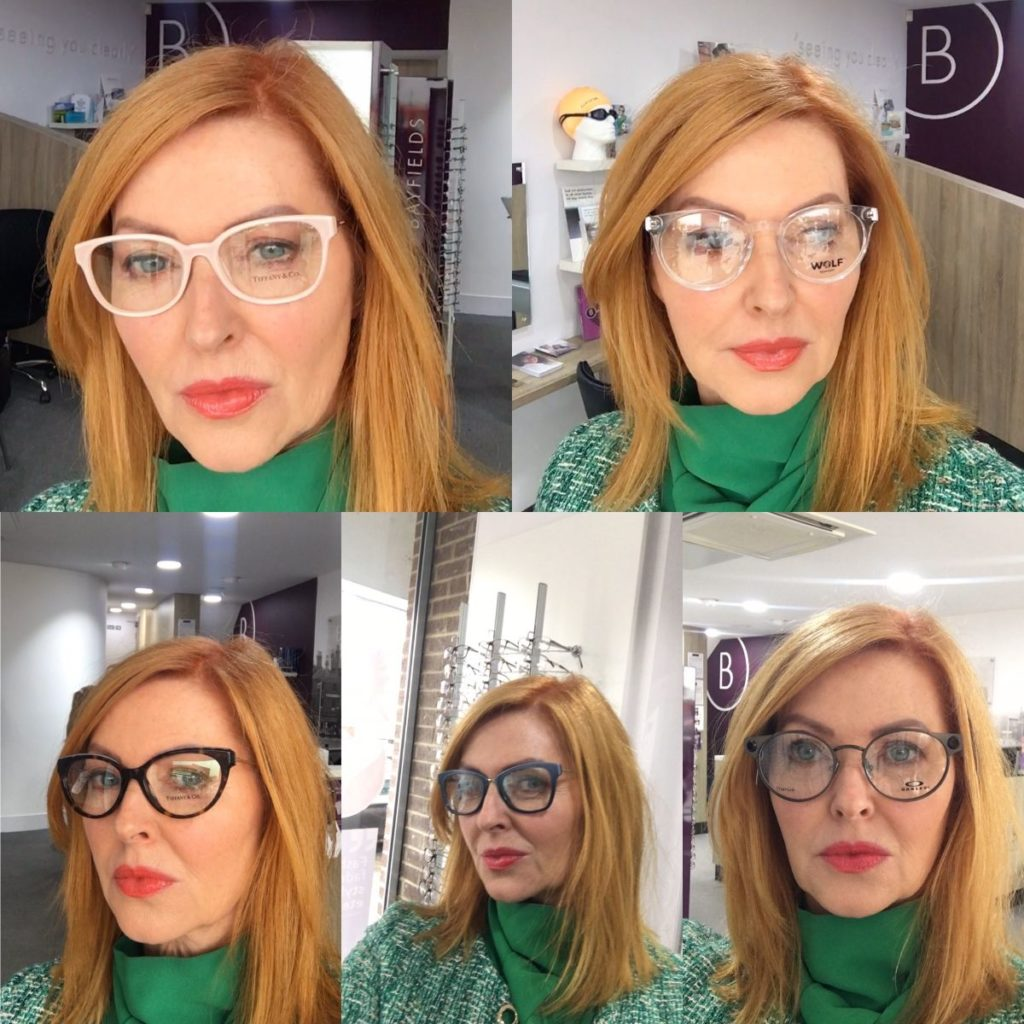 Trying glasses at opticians