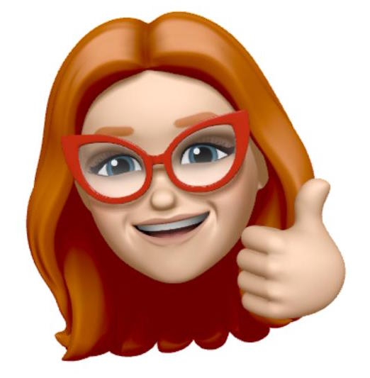 emoji sticker, smiling woman, glasses