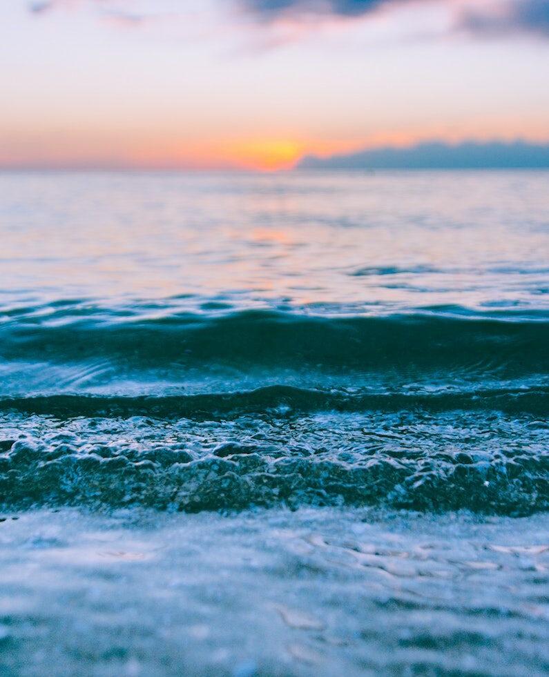 Sunset waves, beach