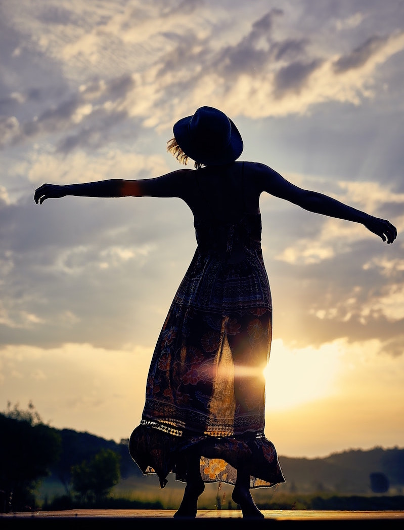 Woman, sunset